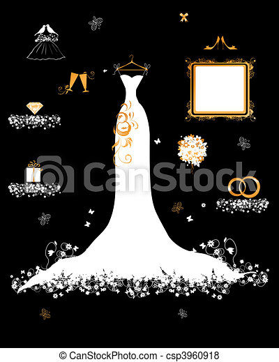 Wedding shop, white dress and accessory - csp3960918