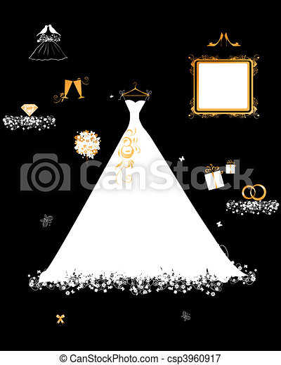 Wedding shop, white dress and accessory - csp3960917