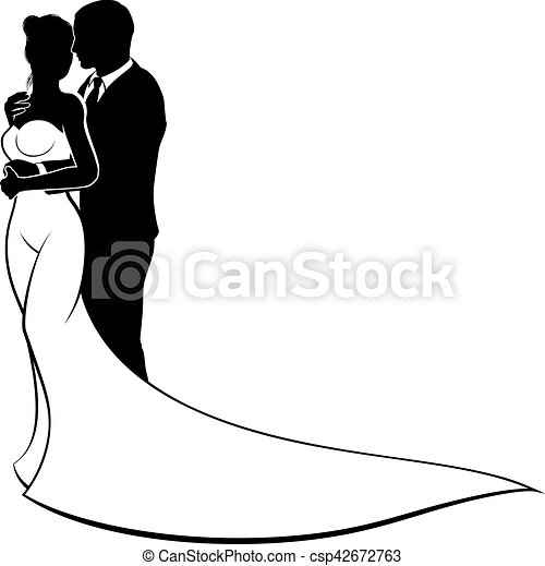 Wedding silhouette bride and groom a bride and groom clip art wedding silhouette bride and groom csp42672763 junglespirit Gallery