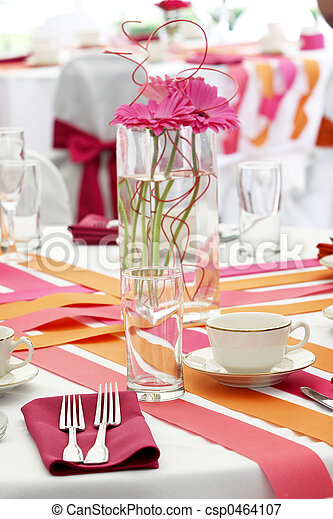 Wedding table set for fun dining during a banquet event - lots o - csp0464107