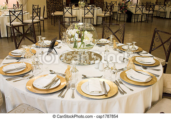 Wedding Table Setting - csp1787854 & Wedding table setting. Wedding table setting with golden coloured ...