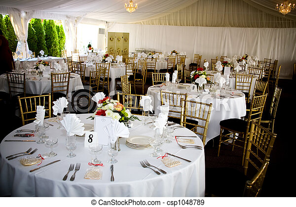 wedding table setting - csp1048789 & Wedding table setting. Table set for a wedding or catered social ...