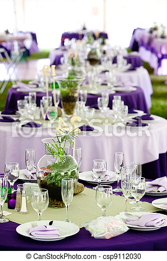 Wedding tables - green and purple. Wedding tables set up for ...