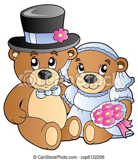 teddy bears vector  Wedding teddy bears - vector illustration.