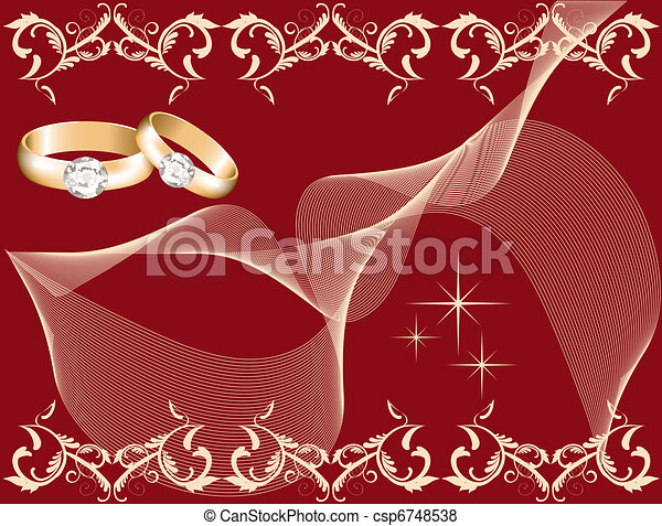 wedding theme with golden rings - csp6748538