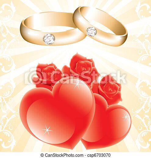 Wedding theme with golden rings roses and hearts vector vector