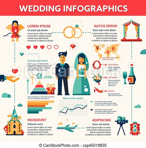 wedding vector illustrative template set with infographic elements