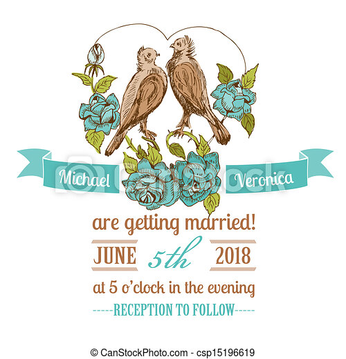 Wedding Vintage Invitation Card Birds And Flowers Theme In Vector