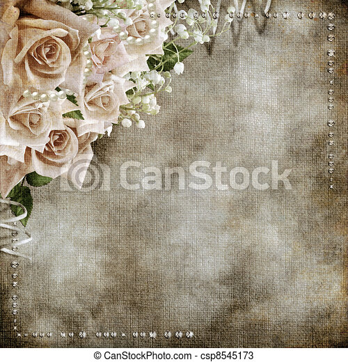 Wedding vintage romantic background with roses  - csp8545173
