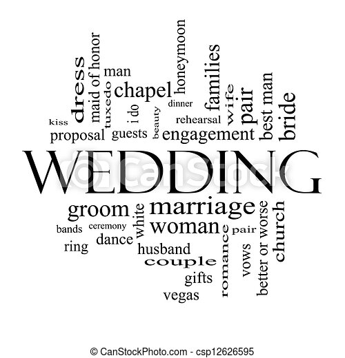 Wedding word cloud concept in black and white csp12626595