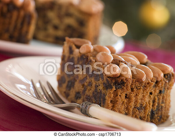 Wedge of Dundee Cake - csp1706713