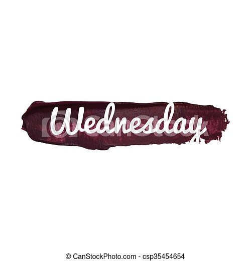 Wednesday, day of the week. weekend vector word hand drawn illustration icon card isolated quote - csp35454654