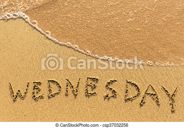 Wednesday - inscription by hand - csp37032256