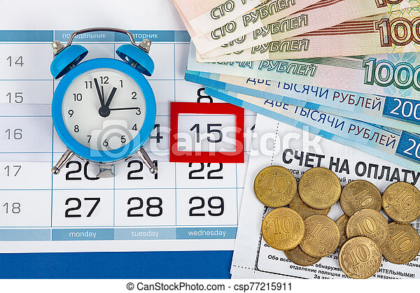 Wednesday's 15th, clock, Russian banknotes and coins - csp77215911