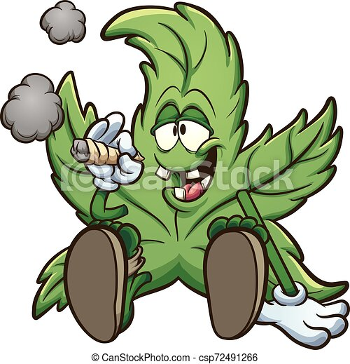 Weed Smoking Cartoon Cannabis Plant Character Smoking A Marihuana