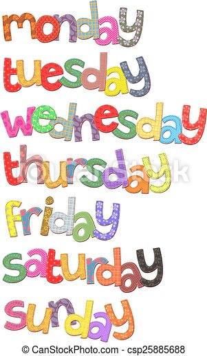 week days text clip art days of the week text clip art resembling rh canstockphoto com days of the week animated clipart days of the week chart clipart