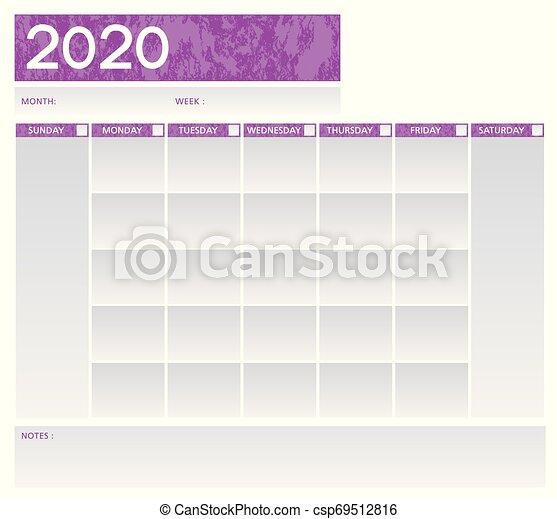 Week planner purple and grey vector schedule - csp69512816