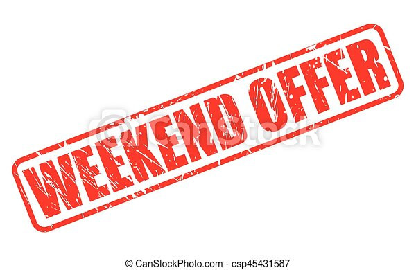 WEEKEND OFFER red stamp text - csp45431587