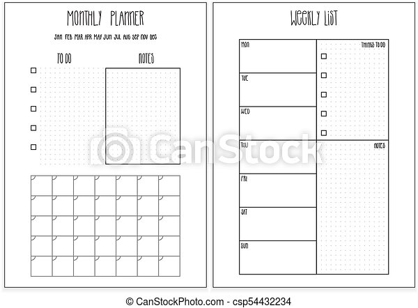picture about Weekly Agenda Printable called Weekly planner, regular monthly planner printable internet pages. Vector organizer template.