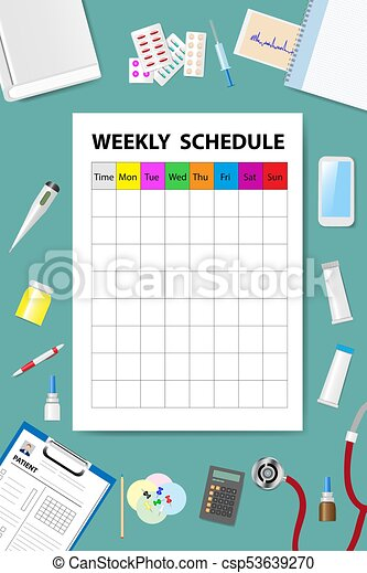 Weekly Schedule on the medical table vector