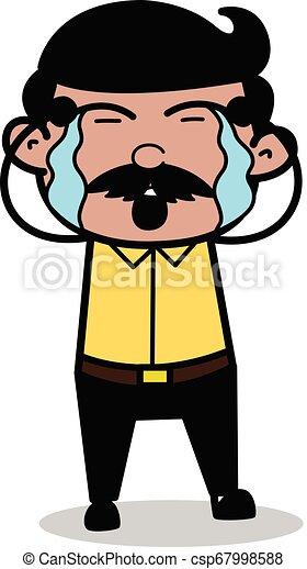 Weeping - Indian Cartoon Man Father Vector Illustration - csp67998588