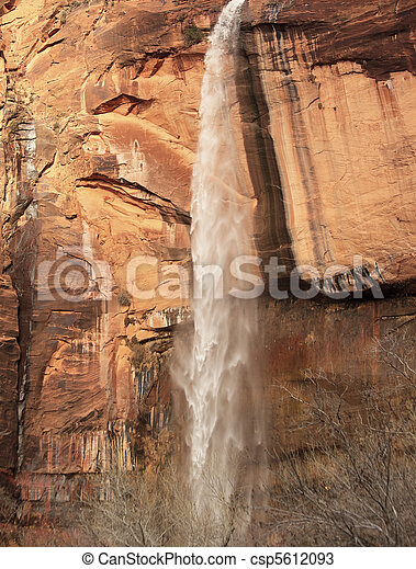 Weeping Rock Waterfall Red Rock Wall Zion Canyon National Park Utah Southwest  - csp5612093