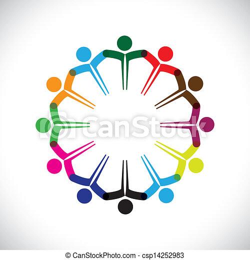 weergeven, concept, mensen, graphic-, teamwork, samen., kinderen, &, ook, eenheid, werknemer, netwerk, spelend, verscheidenheid, illustratie, vergadering, handen, geitjes, dit, iconen, enz., vector, groenteblik, of - csp14252983