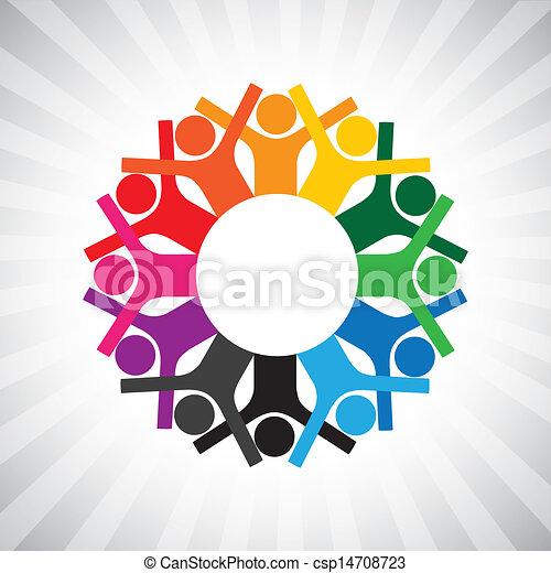 weergeven, verscheidenheid, eenvoudig, graphic., kinderen, personeel, verenigd, ook, vasthouden, werknemer, cirkel, vrolijke , collaborative, illustratie, vergadering, hands-, werkmannen , dit, of, enz., vector, groenteblik, spelend, stafmedewerkers - csp14708723
