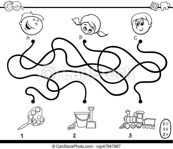 wegen, spel, kleuren, doolhof, activiteit - csp47947987