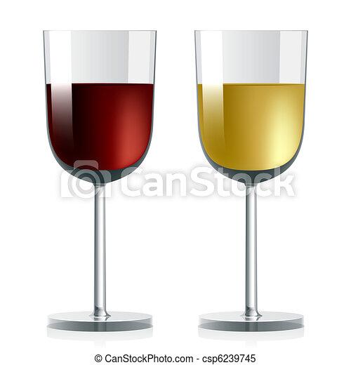 Weingläser Rot weiß rot weingläser wein abbildung vektor weißwein clipart
