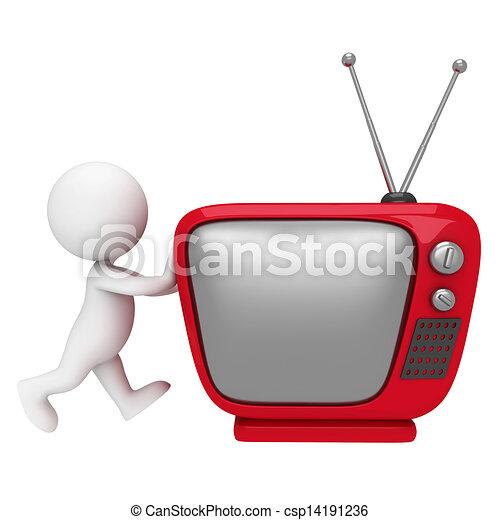 3d Weiße mit Fernsehen - csp14191236