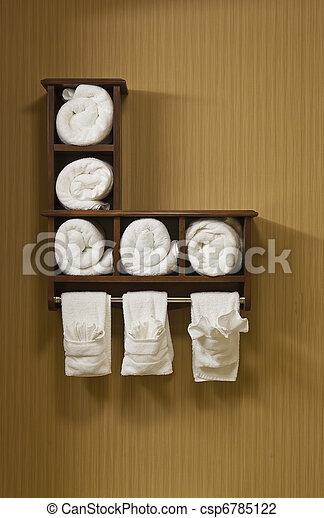 weißes, badezimmer, handtücher