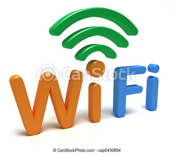 Wifi Logo. 3D-Konzept auf weiß - csp5430854