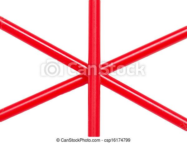 Weißes, draht, roter hintergrund.