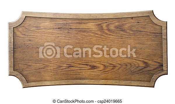 Holzschild isoliert auf weiß - csp24019665