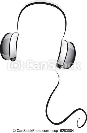 Weißes, kopfhörer, schwarz. Drähte, kopfhörer, abbildung,... Vektor ...