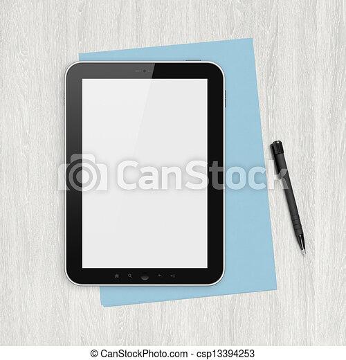 Blanke digitale Tafel auf einem weißen Schreibtisch - csp13394253