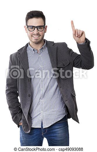 Junger Mann, isoliert auf weißem Hintergrund - csp49093088