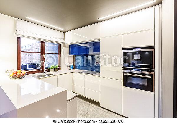 Weißes, modern, fenster, kueche. Blaues, brauner, kabinette ...