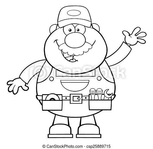 Schwarz-weiß lächelnder Mechaniker - csp25889715