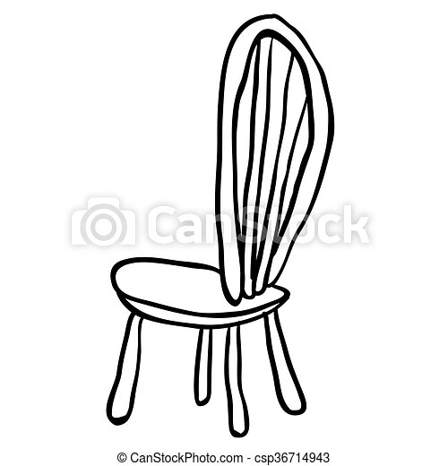 Weisses Schwarz Stuhl Karikatur