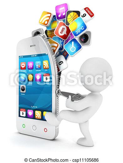 weißes, smartphone, 3d, öffnet, leute - csp11105686