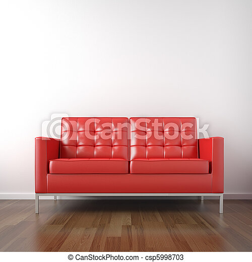 weißes zimmer, rotes , couch - csp5998703
