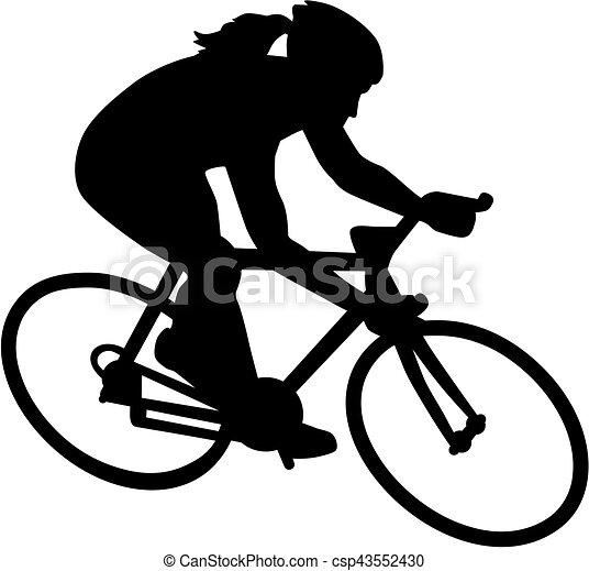 weibliche , fahrrad, fahrrad, radfahrer - csp43552430