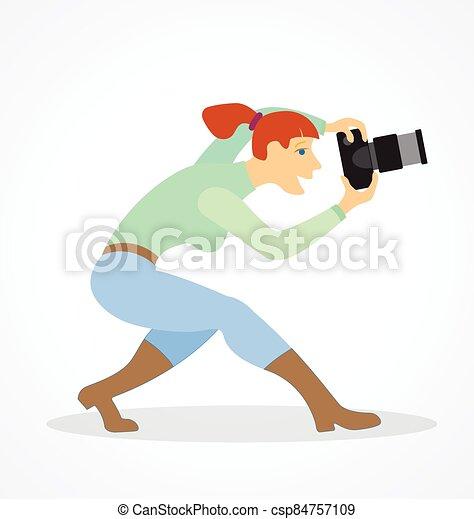 weibliche , fotograf, stilisiert, vektor, karikatur - csp84757109