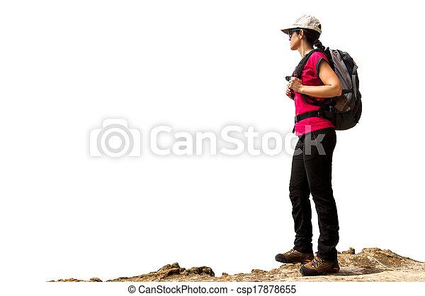 Weiblicher Wanderer mit Rucksack isoliert. - csp17878655