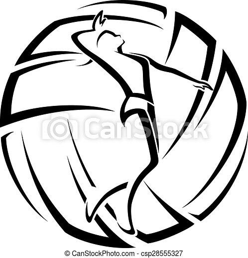 Weiblicher Volleyball-Akzent - csp28555327