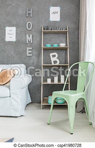 Weide Stuhl Grün Wand Grau Weide Grün Inneneinrichtung