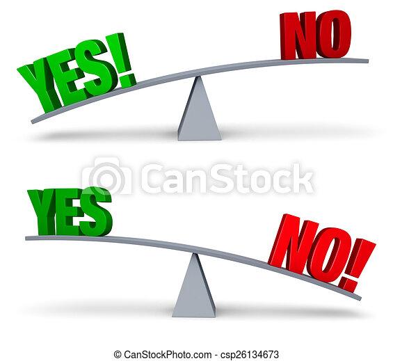 Weighing Yes and No Set - csp26134673