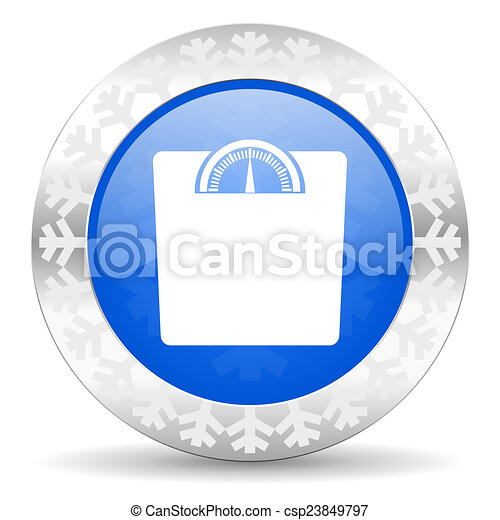 weight blue icon, christmas button - csp23849797